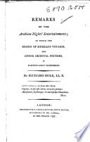 Remarks On The Arabian Nights' Entertainments : ...
