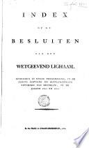 Index op de besluiten van het Wetgeevend Lighaam