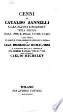 Cenni di Cataldo Jannelli sulla natura e necessit   della scienza delle cose e delle storie umane
