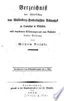 Verzeichniss der   ffentlichen von Wallenberg Fenderlinschen Bibliothek zu Landeshut in Schlesien