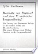 Henriette von Pogwisch und ihre Franz  sische Lesegesellschaft