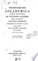 Dissertazione accademica sulle tragedie di Vittorio Alfieri