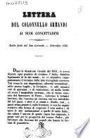 Lettera del colonnello Armandi ai suoi concittadini dalle falde del San Gottardo  settembre 1846