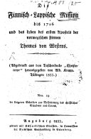 Die Finnisch-Lappische Mission bis 1726 und das Leben des ersten Apostels der norwegischen Finnen Thomas von Westens