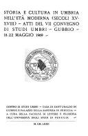 Storia e cultura in Umbria nell et   moderna   Sec  XV XVIII