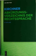 Kirchner   Abk  rzungsverzeichnis der Rechtssprache