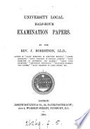University local half hour examination papers