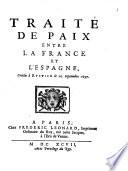 Trait   de Paix entre la France et l Espagne