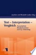 Text – Interpretation – Vergleich
