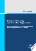 Directors' Dealings am deutschen Kapitalmarkt
