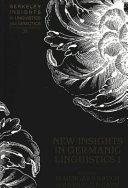 New Insights in Germanic Linguistics I