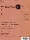Metabolic Rate And Longevity Of Drosophila book