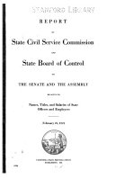 Report By State Civil Service Commission And State Board Of Control To The Senate And The Assembly Relative To Names Titles And Salaries Of State Officers And Employees February 25 1921