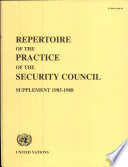 Repertoire of the Practice of the Security Council Results Of An Empirical Survey Of