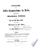 Programm des Stifts-Gymnasiums in Zeitz auf das Schuljahre ...