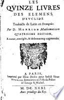 Les quinze livres des   l  mens d Euclide