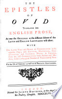 The Epistles of Ovid  tr  into Engl  prose  with the Lat  text  and notes