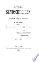 Offenes Sendschreiben an Professor Dr. Lauth, in München von Dr. W. Reil in Cairo