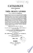 Catalogue d'une collection de très beaux livres tant anciens que modernes... provenant de MM. W. et A. A.