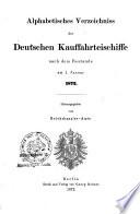 Alphabetisches Verzeichniss der deutschen Kauffahrteischiffe