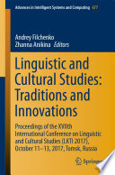Linguistic and Cultural Studies  Traditions and Innovations