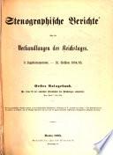 Stenographische Berichte über die Verhandlungen des Deutschen Reichstages