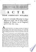 Acte au sujet de la gu  rison miraculeuse de dame Marguerite Loysel  dite de Sainte Clotilde    le 8 juin 1733