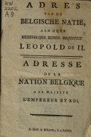 Book Adres van de Belgische natie, aan zijne keijzerlijke konin: majesteit Leopold de II.