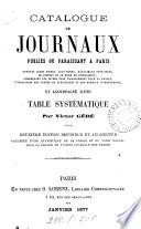 Catalogue de journaux publiés ou paraissant à Paris, par Victor Gébé
