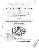 Verklaaring Der Korte Stellingen Van Herman Boerhaave Over De Kennis En Geneezing Der Ziektens
