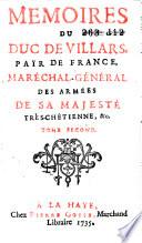 Memoires du duc de Villars, pair de France