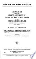 Hearings, Reports and Prints of the Senate Select Committee on Nutrition and Human Needs