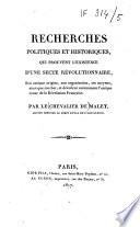 Recherches politiques et historiques, qui prouvent l'existence d'une secte révolutionnaire