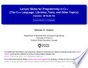 Lecture Slides for Programming in C    Version 2018 02 15