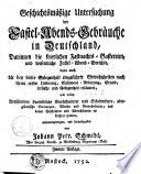 Geschichtsmäßige Untersuchung der Fastel-Abends-Gebräuche in Deutschland0