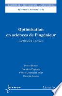 Optimisation en sciences de l'ingénieur: Méthodes exactes