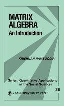 Matrix Algebra  An Introduction