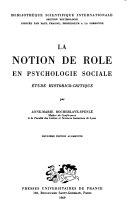 La notion de r  le en psychologie sociale