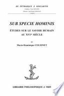 illustration du livre Sub specie hominis