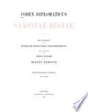 Codex diplomaticus Saxoniae regiae