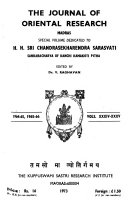 The Journal Of Oriental Research Madras