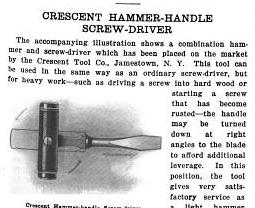 [1915 Notice for Hammer-Handle Screwdriver]