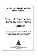 Treaty Of Peace Between Latvia And Soviet Russia