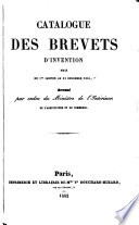 Catalogue des brevets d invention