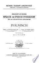 Brieflicher Sprach und Sprechunterricht f  r das Selbststudium Erwachsener  Polnisch