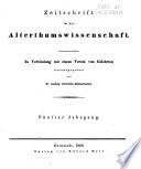 Zeitschrift f  r die Alterthumswissenschaft