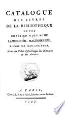 Veilingcatalogus, boeken Chr. G. Lamoignon-Malesherbes, 1 mei e.v. 1797