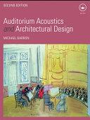 Auditorium Acoustics and Architectural Design Book