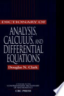 Dictionary of Analysis  Calculus  and Differential Equations