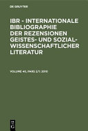 International Bibliography Of Book Reviews Of Scholarly Literature Chiefly In The Fields Of Arts And Humanities And The Social Sciences